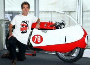Steve Parrish - wearing the Avon Tyres 100mph lap TT anniversary t-shirt